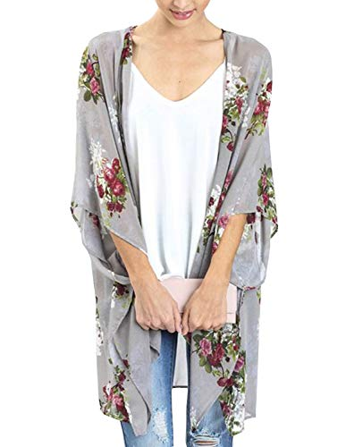 Kimono Cardigan for Women 3/4 Sleeve Lightweight Boho Chiffon Cover ups Grey S