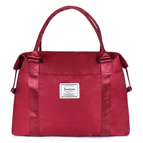 - Unisex Large Travel Shoulder Weekender Overnight Bag Handbag Gym Tote Bag with Trolley Sleeve (Red)