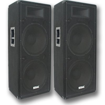 Seismic Audio - AftershockPKG8 - Pair of Powered 18'' Subwoofers, Pair of Dual 15'' PA Speakers, with Two Speaker and Two Microphone Cables - PA/DJ Package