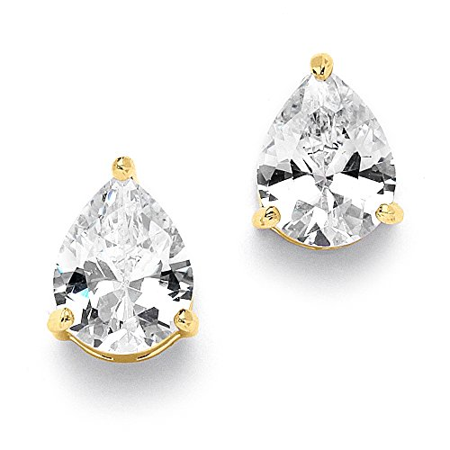 Mariell 2 Carat Pear-Shaped Cubic Zirconia Stud Solitaire Earrings - Genuine 14K Gold Plated