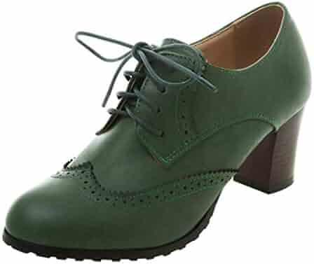 b43499cdc4de4 COOLULU Womens Wingtip Brogue Chunky Heel Oxfords Lace Up Vintage Saddle  Shoes