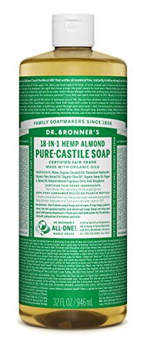 Dr. Bronner's Magic Soaps Pure-Castile Soap, 18-in-1 Hemp Almond, 32-Ounce Bottles (Pack of 2)