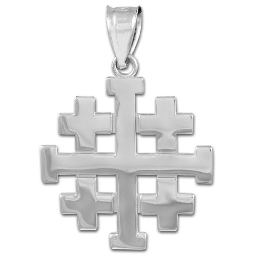 Jerusalem Gold Cross Pendant Jewelry - 925 Sterling Silver Templar Crusaders Jerusalem Cross Pendant