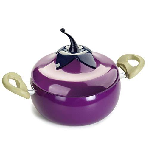 Fruit Frying Pan Cooking Pot Color Saucepan Ceramic Pan Grill Pan Induction Cooker Gas Aluminum Cookware,Eggplant Soup Pot