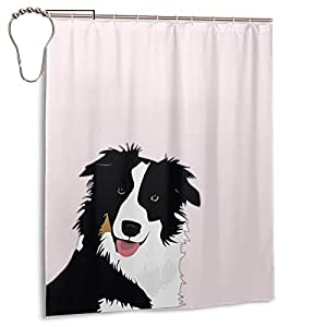 "Perfect Appearance Border Collie Shower Curtain 7-12 Grommet Holes Waterproof Thick Bathroom Plastic Shower Curtains 55.1"""" W X 71.1"""" H No Chemical Odor Rust Proof Grommets 1"