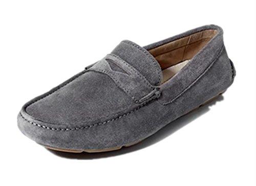 Happyshop (tm) Mens Casual In Vera Pelle Nabuk Mocassino Mocassini Driving Shoe Slip-on Mocassino Flats Grigio