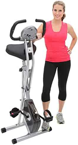 Exerpeutic Folding Magnetic Upright Exercise Bike with 300 lbs Weight Capacity