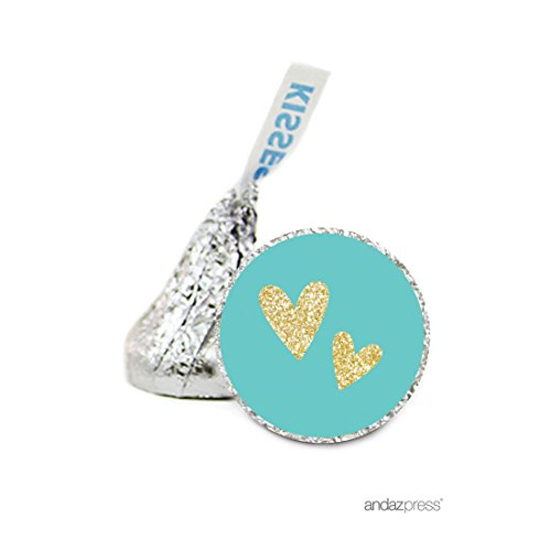 Andaz Press Chocolate Drop Labels Stickers Single, Wedding, Double Hearts Diamond Blue and Faux Gold Glitter, 216-Pack, For Hershey's Kisses Bridal Shower Party Favors, Invitations, Decorations ()