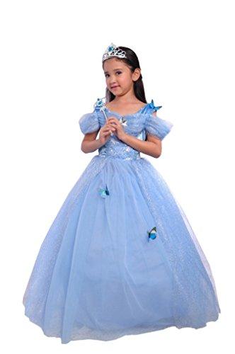 Girls Fashion Princess Costume Light Blue Dress Up for Toddler Girls Aged 10-13