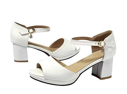 Solid Heels Pu Toe White Kitten Sandals CCALP015032 VogueZone009 Open Buckle Women 0qwOIHHtX