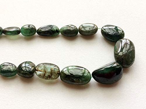 3848-49 14 Inch Strand-6x8-7x11mm 109 Cts Natural Emerald Gemstone Smooth Oval Shape Beads Strand-38 BeadsStrand