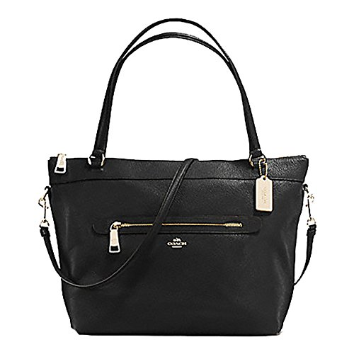 Coach Pebbled Leather Tyler Tote in Black - #F54687 by Coach