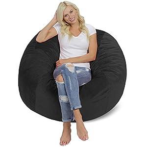 Chill Sack Bean Bag Chair: Giant 4' Memory Foam Furniture Bean Bag - Big Sofa with Soft Micro Fiber Cover - Dark Grey Pebble