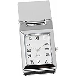 Square White Watch Stainless Steel Hinged Money Clip