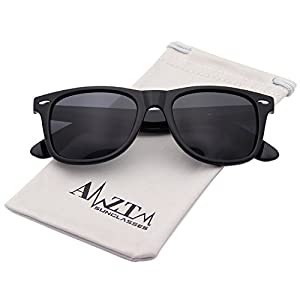 AMZTM Classic Square Retro Mirrored Lens Polarized Designer Wayfarer Sunglasses (Bright Black Frame Black-grey Lens, 60)
