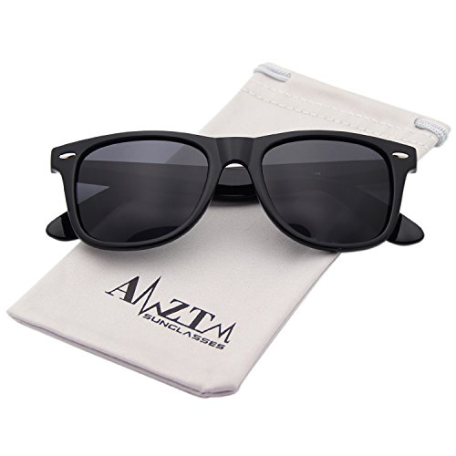 AMZTM Classic Square Retro Mirrored Lens Polarized Designer Wayfarer Sunglasses (Bright Black Frame Black-grey Lens, 60)