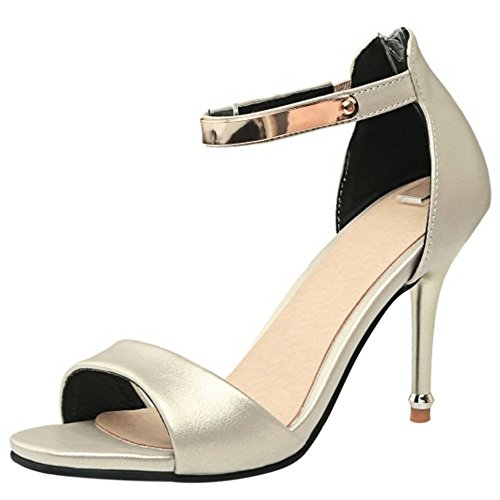 TAOFFEN Mujer Peep Toe Sandalias Moda Tacon De Aguja Tacon Alto Al Tobillo Cremallera Zapatos Beige