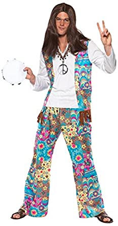 60s -70s  Men's Costumes : Hippie, Disco, Beatles Smiffys Mens Groovy Hippie Costume Top with Attached Waistcoat $72.40 AT vintagedancer.com