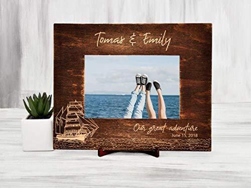 Personalized Picture Frame Wood Photo Frame Destination Wedding Gift for Couple Christmas Gift Sailboat Sea Traveler Gift Ideas Custom Photo Frame Family Frame Horizontal Vertical Frame 4x6