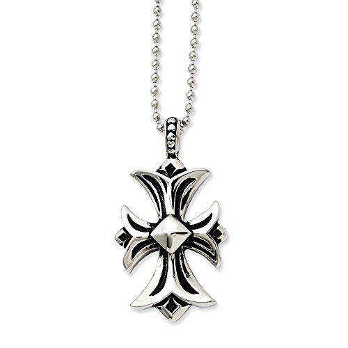 ICE CARATS Stainless Steel Cross Religious Pendant Chain Necklace Charm Crucifix Fashion Jewelry Gifts for Women for Her