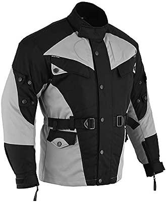 German Wear Traje para moto de tejido Cordura, Chaqueta + Pantalón de Motorista, negro/gris claro