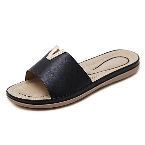 Zapatos Playa Deslizadores Verano Punta Chic Zapatillas Global Mujeres tnico Sandalias Abierta Negro Sandalias Estilo Bohemio tt Boho xpB07Y