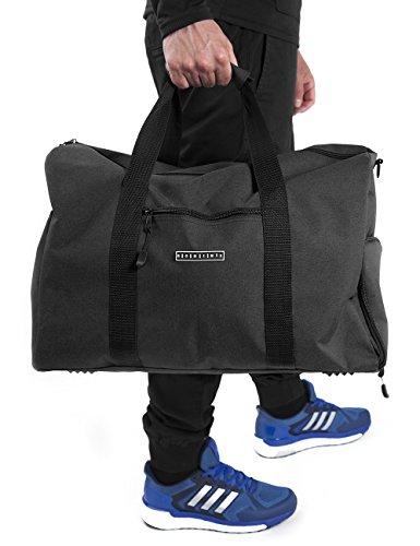 Ronin's stilvolle Sporttasche Reisetasche mit Schuhfach und Trinkflaschen-Halter | 38 Liter Handgepäck Tasche 55x40x20 | Hochwertige Canvas Weekender Tasche für Damen und Herren