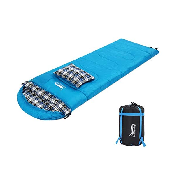 DESERT & FOX Cotton Flannel Sleeping Bags with Pillow, 4 Season Warm & Cold Weather Envelope Compression Sack, Lightweight & Portable Backpacking Sleeping Bag for Outdoor Camping, Hiking, Traveling 3