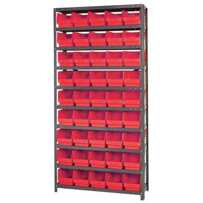 Quantum Storage Complete Shelving System with 6in. Bins - 36in.W x 12in.D x 75in.H, 45 bins (11 5/8in.L x 6 5/8in.W x 6in.H each), Red, Model# 1275-202RD by Quantum