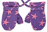 Back From Bali Baby Girls Fleece Mittens Purple with Pink Stars XLarge