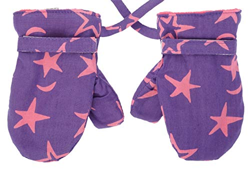 Back From Bali Baby Girls Fleece Mittens Purple with Pink Stars Medium