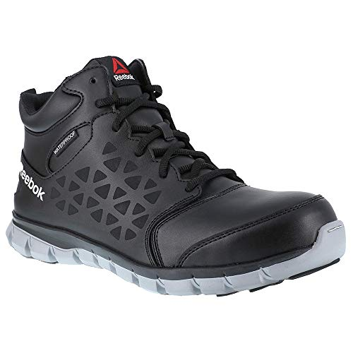 Reebok Work Men's Sublite Cushion Work Mid Comp Toe EH Black/Grey 8.5 D - Boots Waterproof Athletic Mens