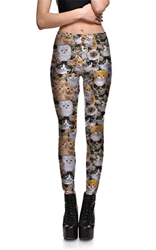 Hoyou Funky Print Leggings For Women Galaxy Floral Tribal Sexy Smooth Crazy Patterned Pants Slimming Girls by Cat M - Cheap Sexy Halloween Outfits