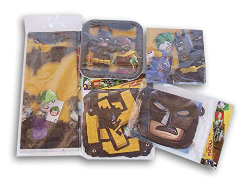 Batman Themed Party Supply Kit - Cake Plates, Napkins, Banner, Tablecover, Mask Favors]()