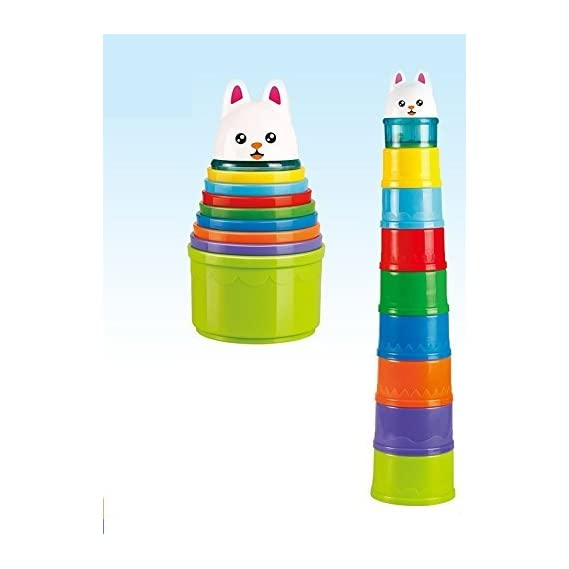WP Rainbow Stacking & Nesting Cups Baby Building Set. 8 Pieces. with Animal. for Indoor, Outdoor, Bathtub, and Beach Fun