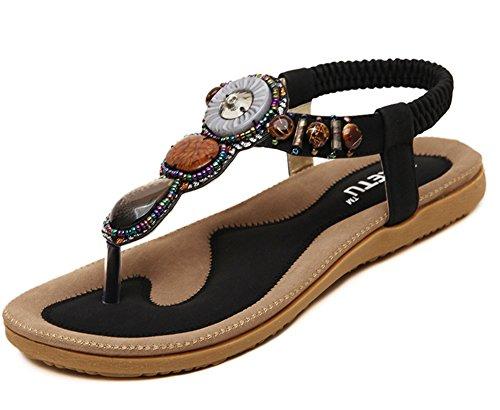 Aisun Womens Trendy Bohème Perlé Plage Sandales Plates Tong Flip Flop Chaussures Noir