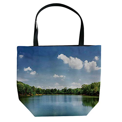 iPrint Handbag Canvas Shoulder Bag Modern Stylish,Lake House Decor,Clouds Over Moving River Landscape with Lush Meadows Grass Clear Sky Daytime,Green Blue White,Personalized -