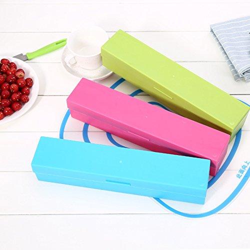 Hoyoo Dispensador de Envoltura de Plástico, Dispensador de papel film alimentario,multifunción cortador,Tamaño: 31.7 * 6.4 * 6.2 cm (Rosa): Amazon.es: Hogar