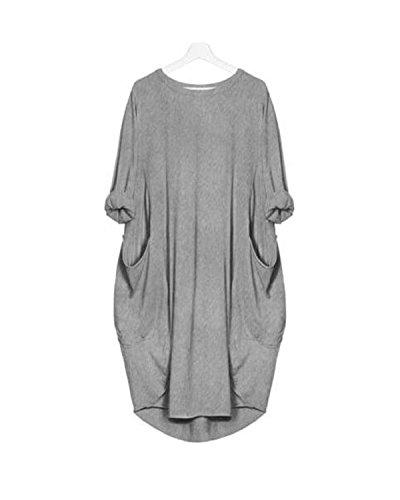 KIDSFORM Women's Oversized Dress Long/Short Sleeve Tunic Dress Plus Size Shirt Dress Baggy Pockets Short Jumper Blouse T…