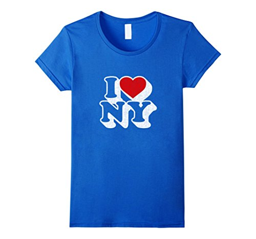 Womens I Heart Love NY New York T-shirt Vintage Style Tshirt Large Royal (New York Style Graphic Tee)