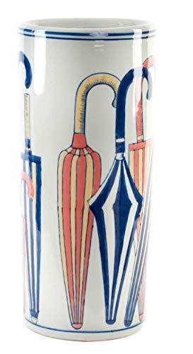 (Item White Porcelain Umbrella Stand Features Colorful Umbrellas and Blue Trim 17.32