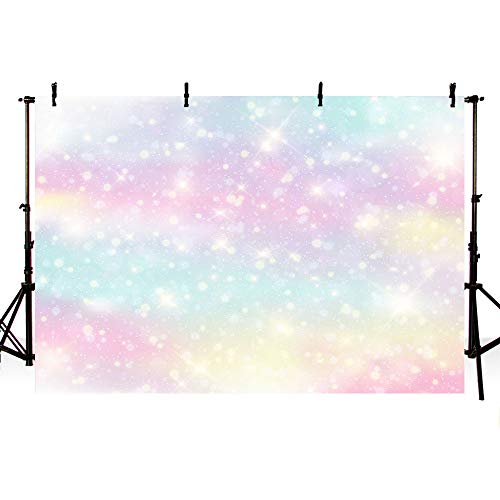 (MEHOFOTO Glitter Rainbow Watercolor Photo Studio Booth Background Props Watercolor Colorful Stars Princess Magical Happy Birthday Party Decorations Bokeh Banner Backdrops for Photography 7x5ft)