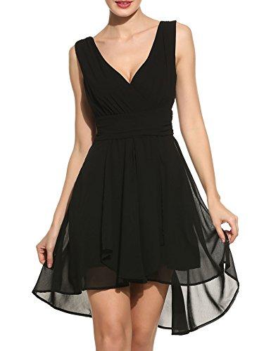 Womens Chiffon Short Wedding Dress Cocktail Party Dresses (Black) - 7