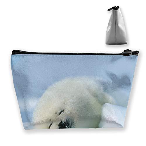 Makeup Bag Cosmetic Polar Snow White Portable Cosmetic Bag Mobile Trapezoidal Storage Bag Travel Bags with Zipper ()