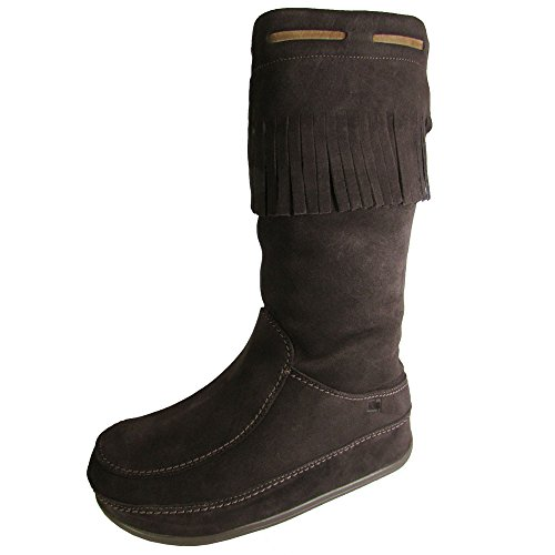 - FitFlop Womens Superfringe Mukluk Knee-High Suede Boot Shoe, Dark Brown, US 6