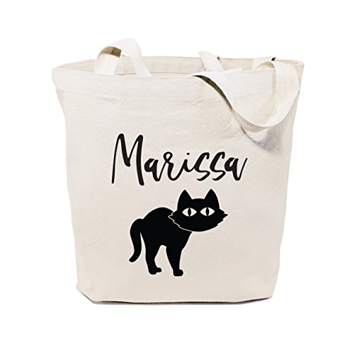 The Cotton & Canvas Co. Personalized Name Black Cat Reusable Halloween Tote, Trick or Treat Bag, Kid's Candy Sack