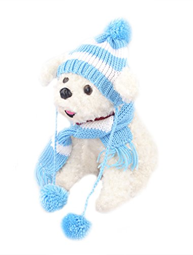 Freerun Pet Dog Winter Scarf Pom-pom Cap Collar Clothes Costume Warm Knitted Hat - Blue, XXS