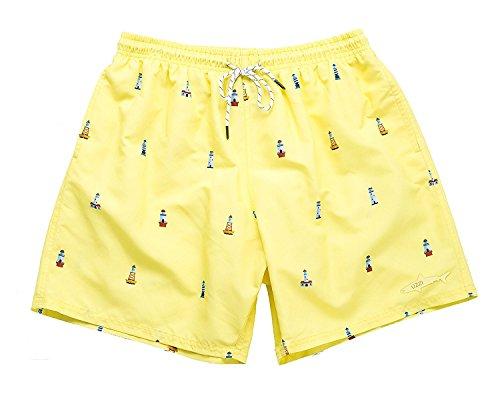(UZZI Men's Lighthouse Swim Shorts, Banana, X-Large)