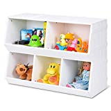 Giantex Kids Toy Storage Organizer with 5 Storage Bins Toy Cabinet Storage Containers for Bedroom, Playroom, School Lightweight Children Collection Shelf Multi-Bin Storage Cubby w/Compartments, White