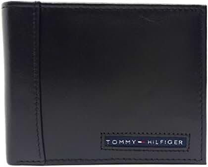 Tommy Hilfiger Men's Pebbled Leather Passcase Billfold Wallet (Black)